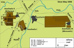 Mapa Osvětim 1944
